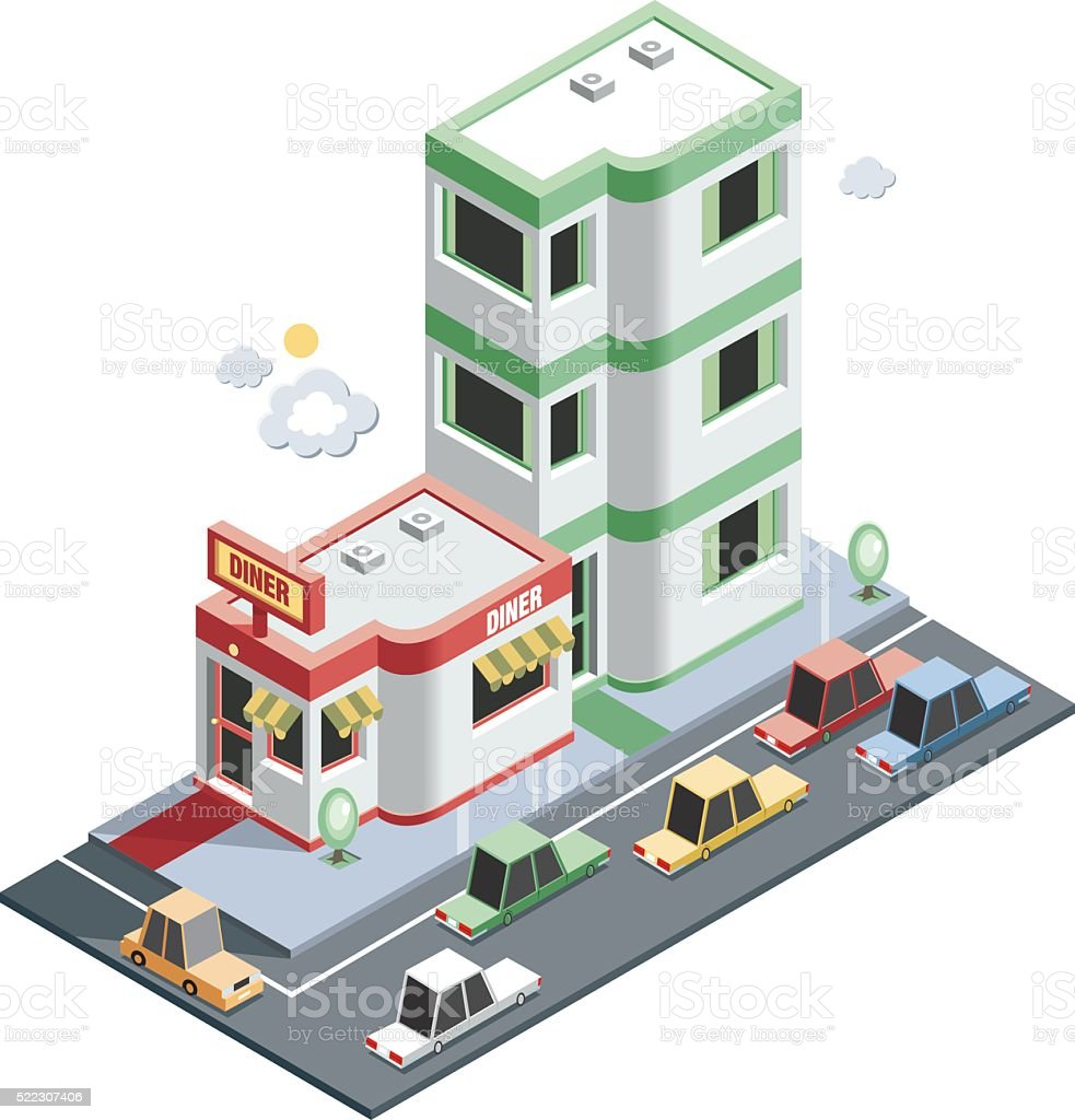 Apartment and neighbours vector art illustration