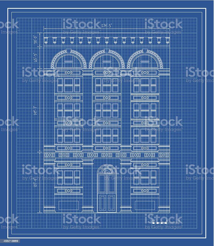 Apartment building blueprint vector art illustration