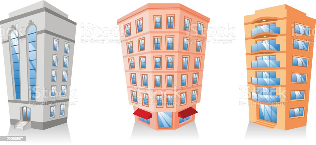 Apartment Building edifice structure construction collection royalty-free stock vector art