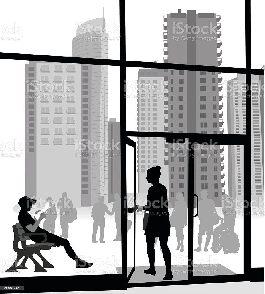Apartment Building Entrance vector art illustration