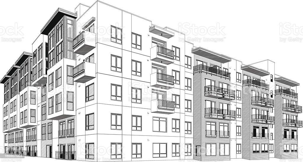 Apartment building vector art illustration