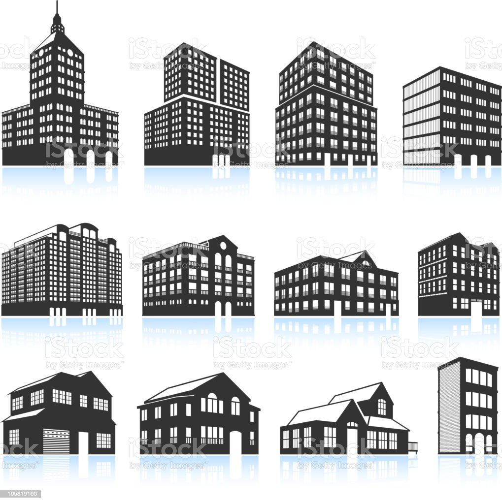 Apartment Buildings and Condominiums black & white vector icon set royalty-free stock vector art