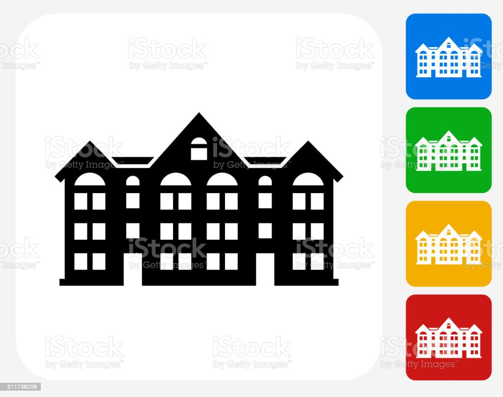 Apartment Buildings Icon Flat Graphic Design Stock Vector Art
