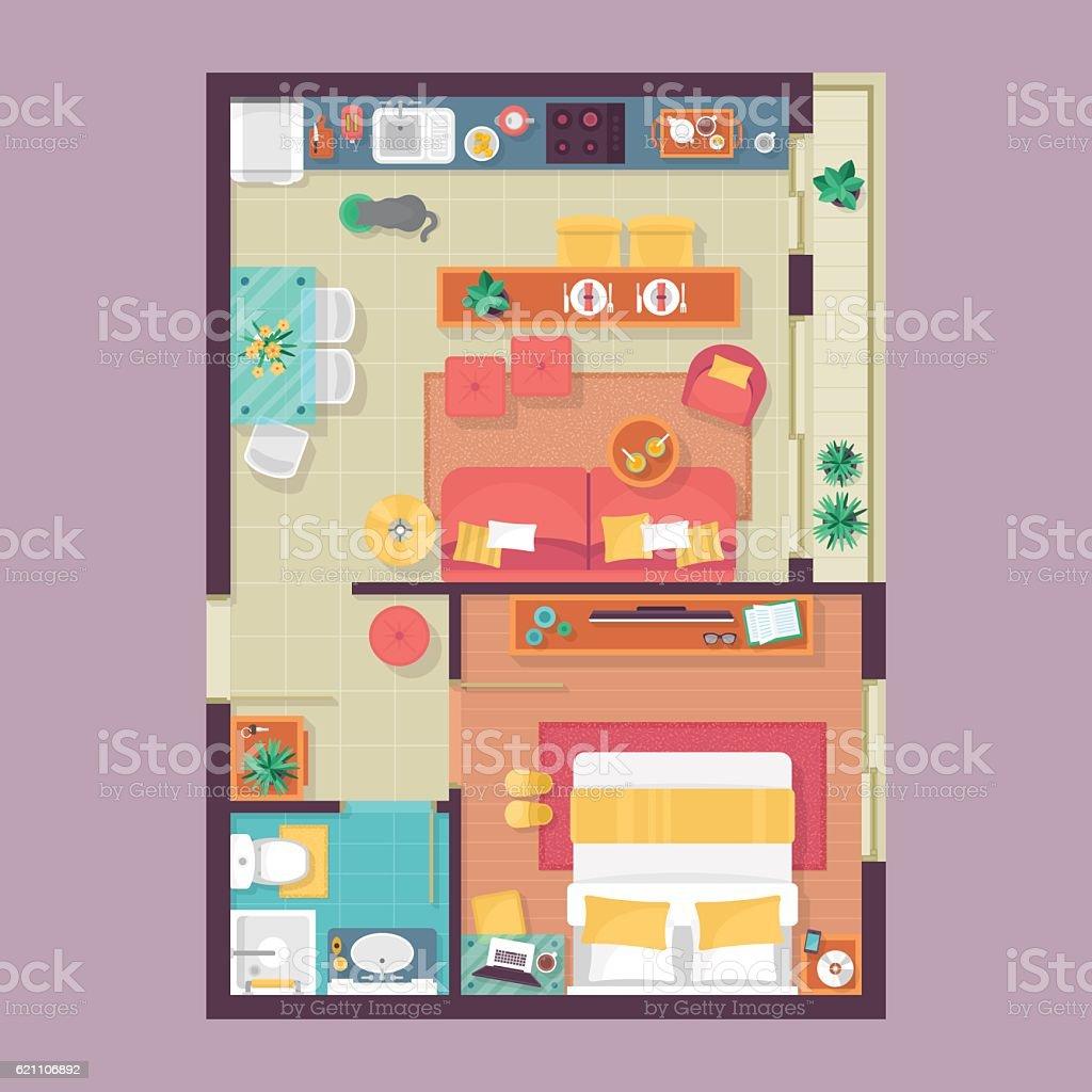 Apartment floor plan top view. Furniture set for interior design vector art illustration