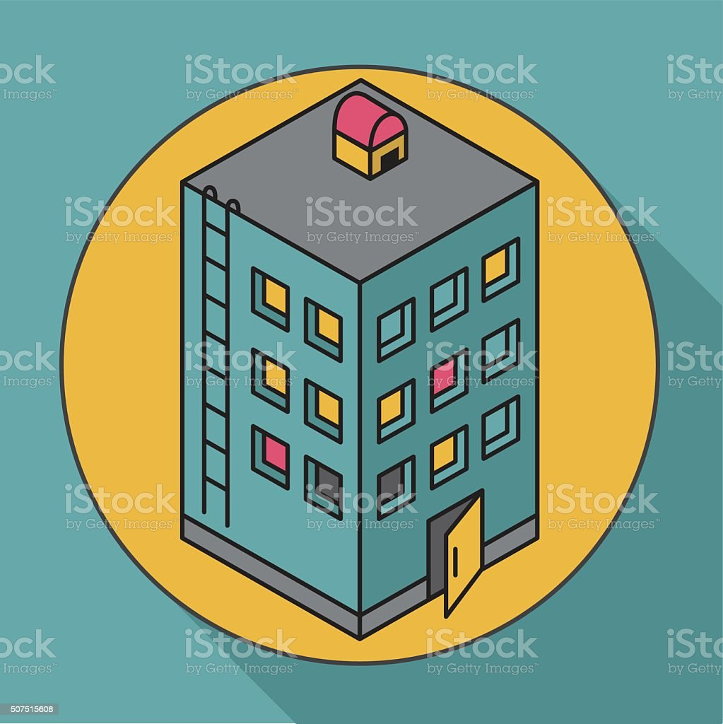 Apartment house. Isometric vector illustration house. Icon vector art illustration