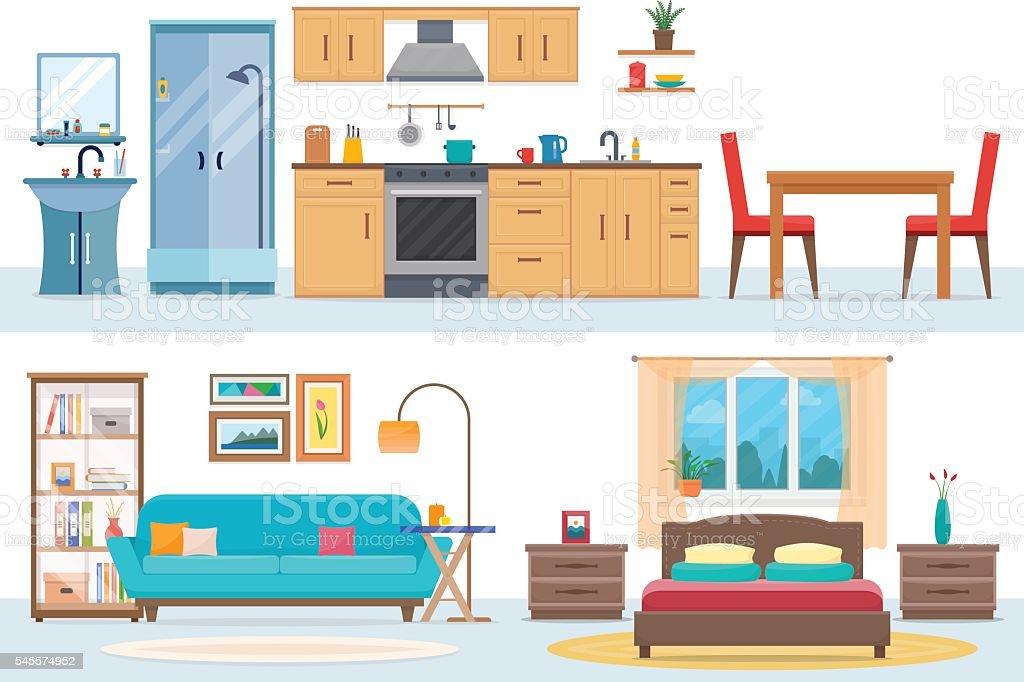 Apartment inside vector art illustration