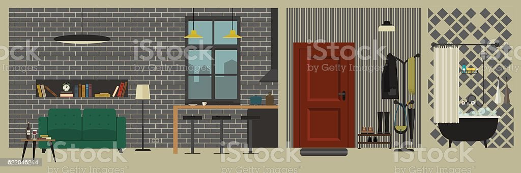 Apartment interior with bar in flat style. vector art illustration