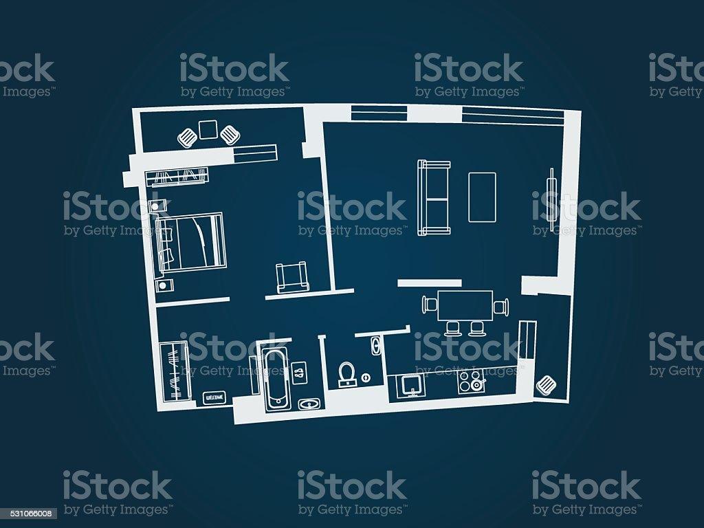 apartment plan top view vector art illustration