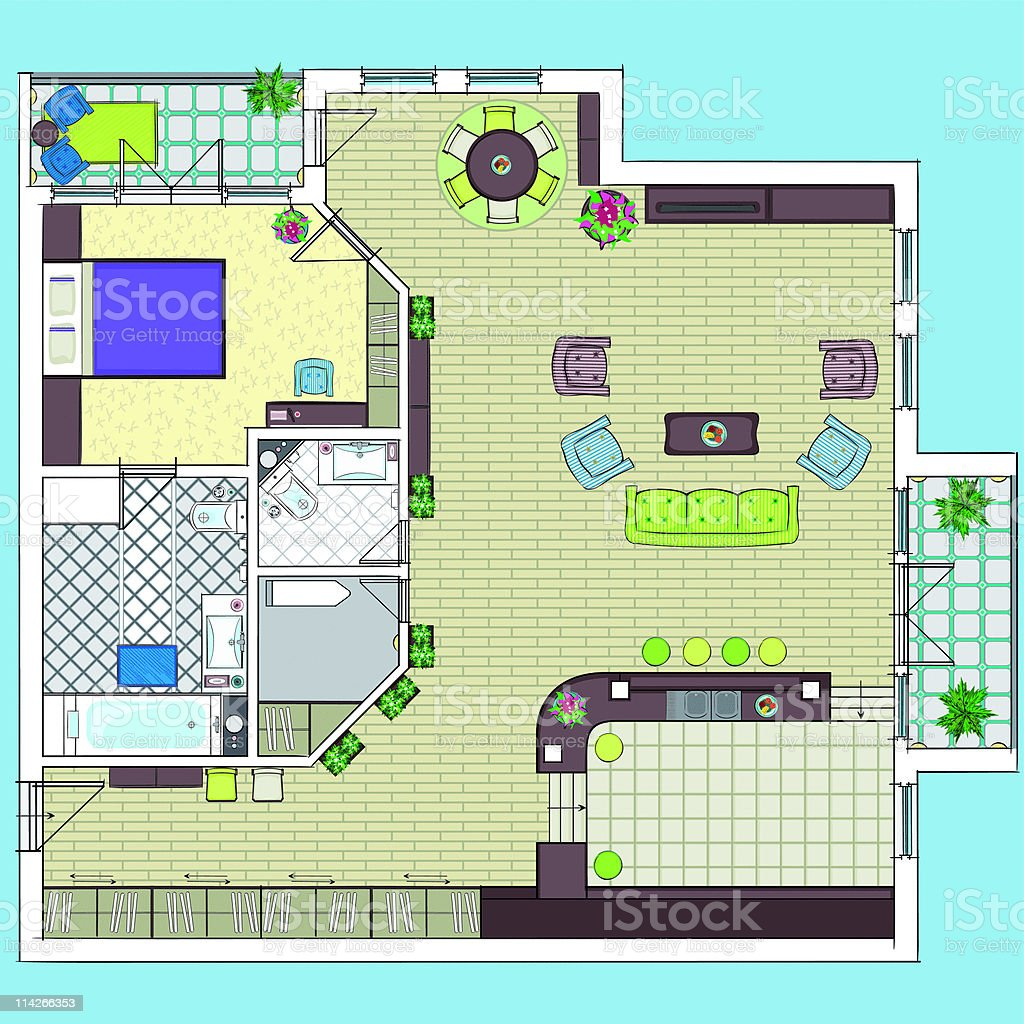 Apartment plan. vector art illustration