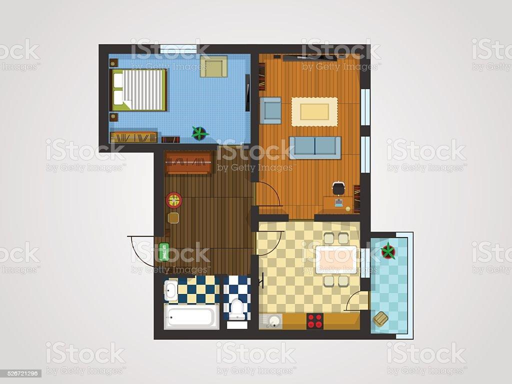 apartment plan vector art illustration