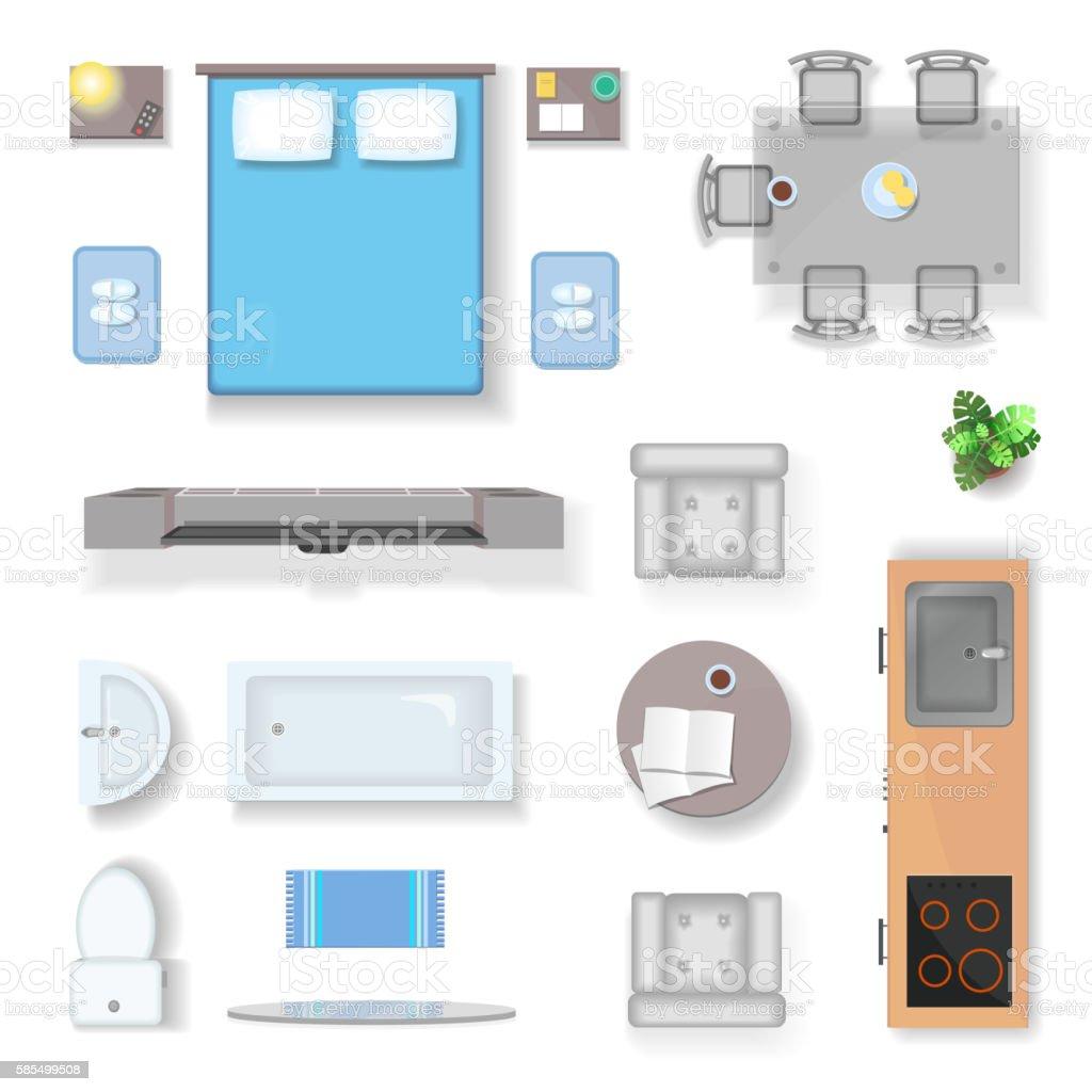 Apartment top view, living room bedroom and bathroom furniture design vector art illustration
