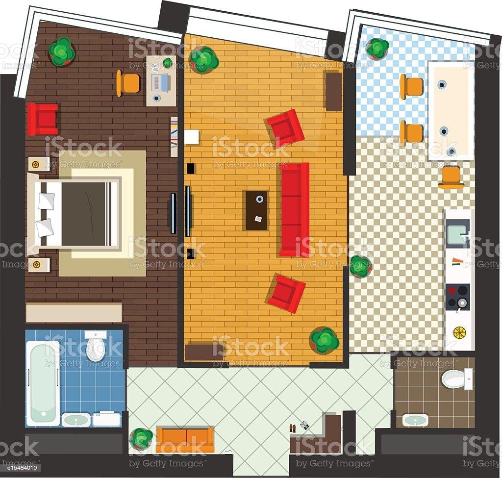 apartment top view vector art illustration