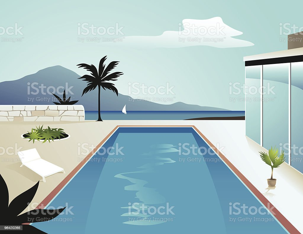 Apartment with Swimming Pool royalty-free stock vector art