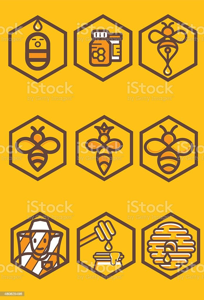 apiculture icon set vector art illustration