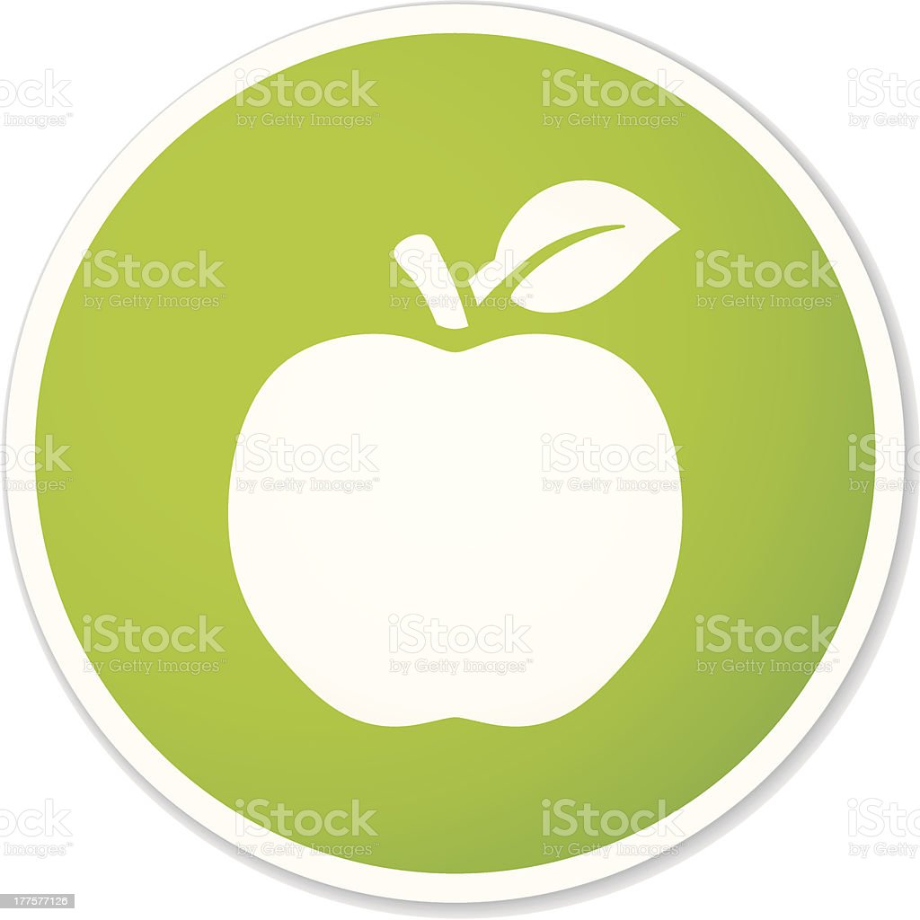 Aplle green sticker vector art illustration