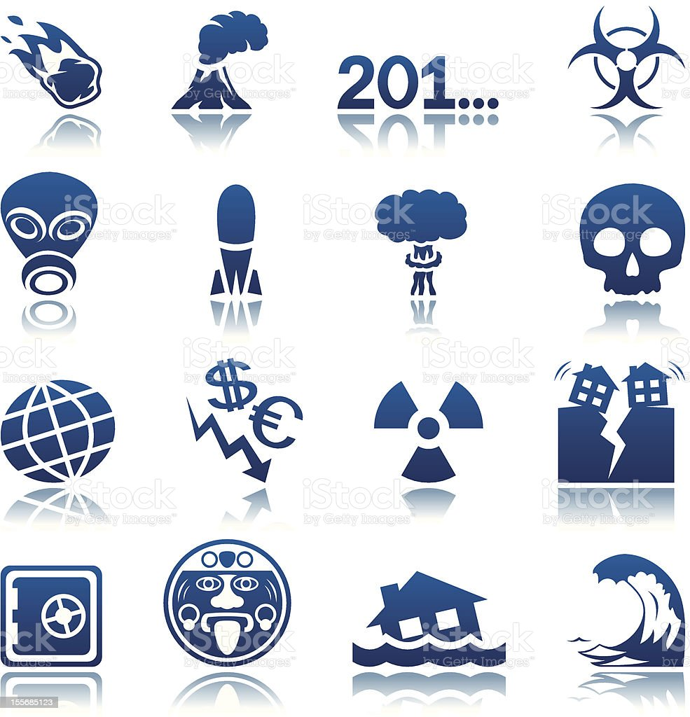 Apocalyptic and natural disasters icon set royalty-free stock vector art