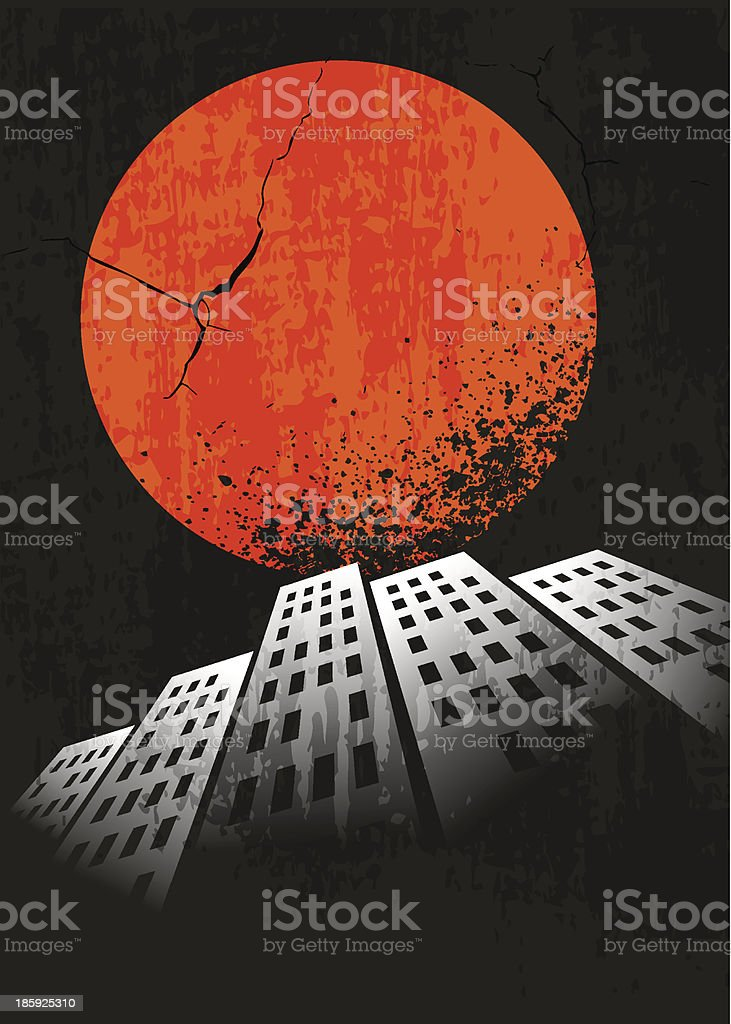 Apocalyptic retro poster. Sunset. Grunge background. royalty-free stock vector art