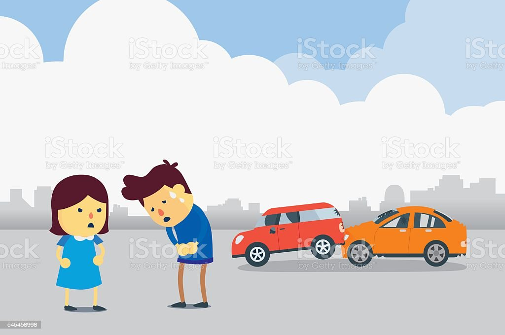 Apologizes for car accident vector art illustration