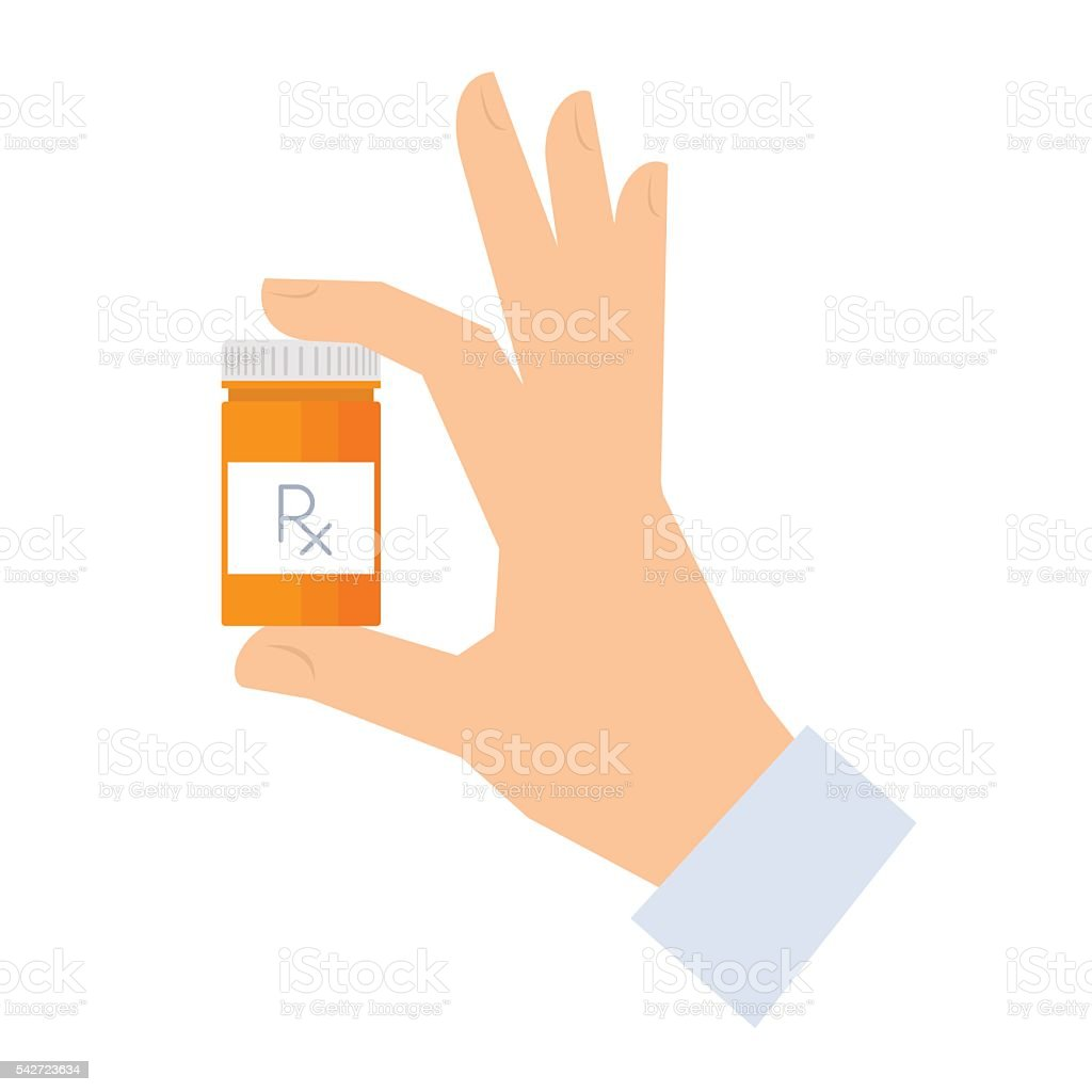 Apothecary holding container with drugs. vector art illustration