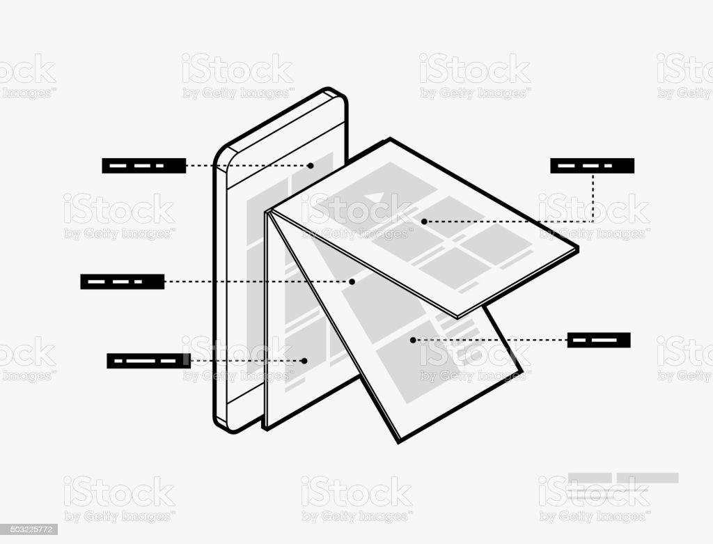 App design development wireframe vector art illustration