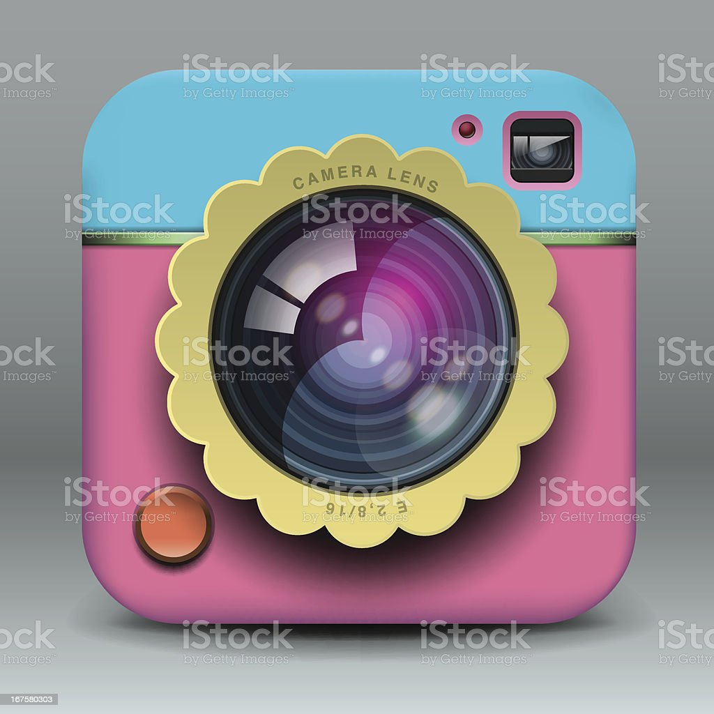 App design pink and blue photo camera icon royalty-free stock vector art