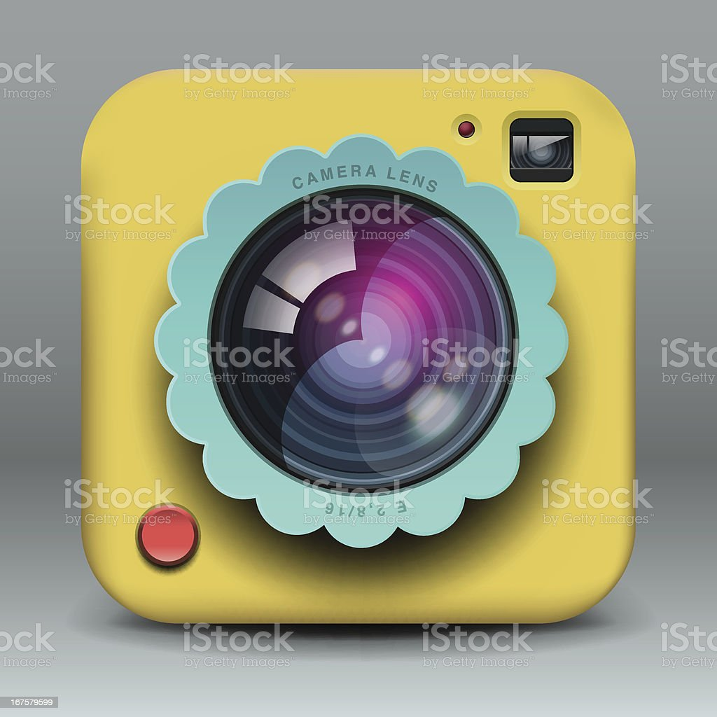 App design yellow photo camera icon royalty-free stock vector art