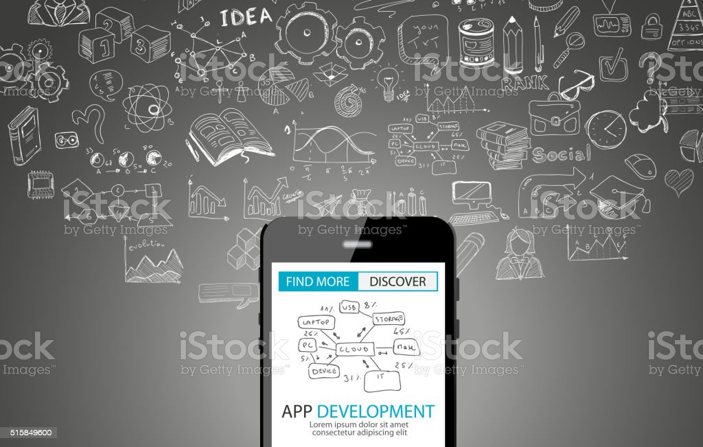 App Development Concept Background with Doodle design style vector art illustration