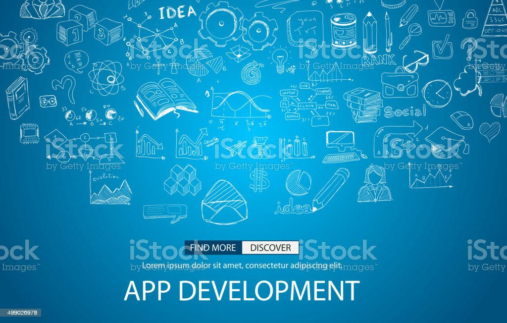 App Development Concept with Doodle design style vector art illustration