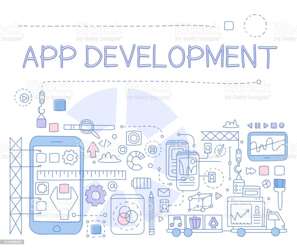 App Development Infographics. Vector Illustration vector art illustration