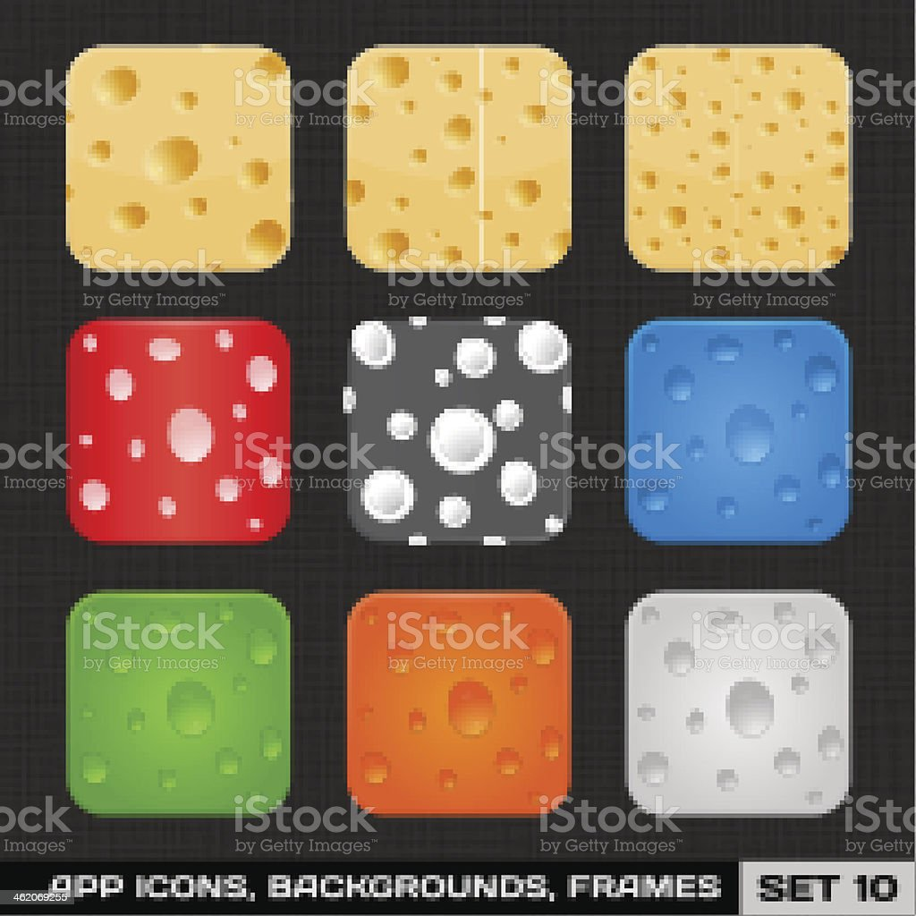 App Icon Frames, Templates, Backgrounds. Set 10 royalty-free stock vector art