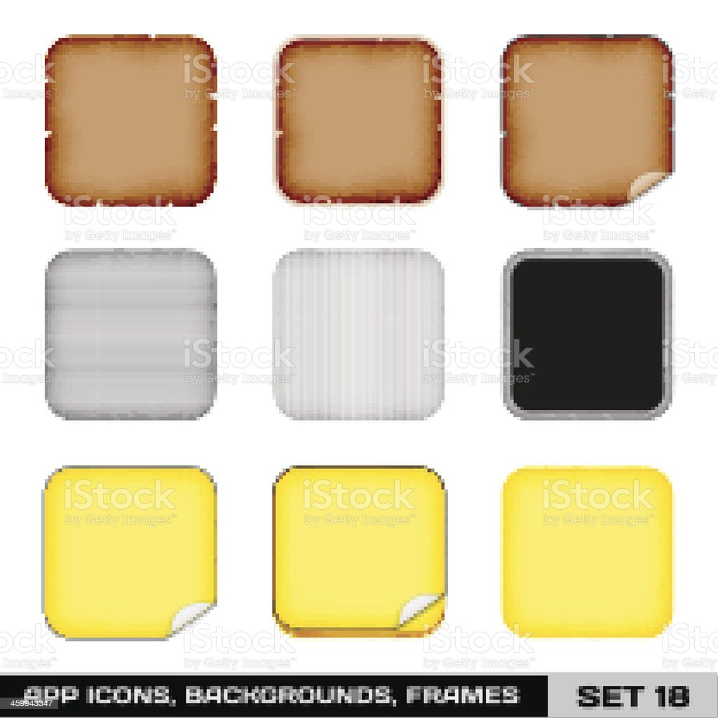 App Icon Frames, Templates, Backgrounds. Set 18 royalty-free stock vector art