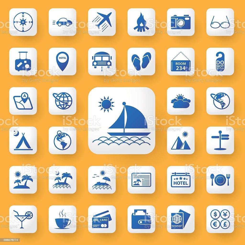App icon travel sign Icons set. vector illustration. vector art illustration