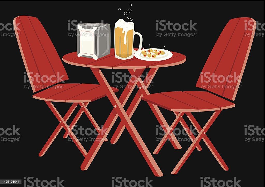 Appetizer and beer mug olives vector art illustration