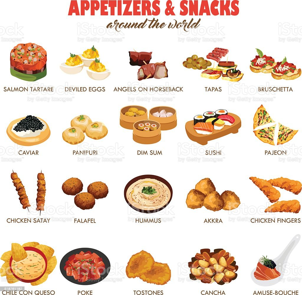 Appetizers and Snacks Icons vector art illustration