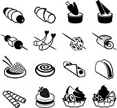 Appetizers black and white royalty free vector icon set