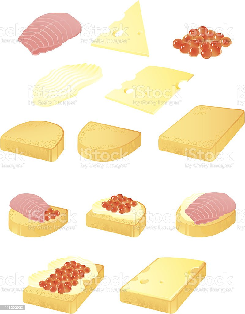 Appetizers vector art illustration