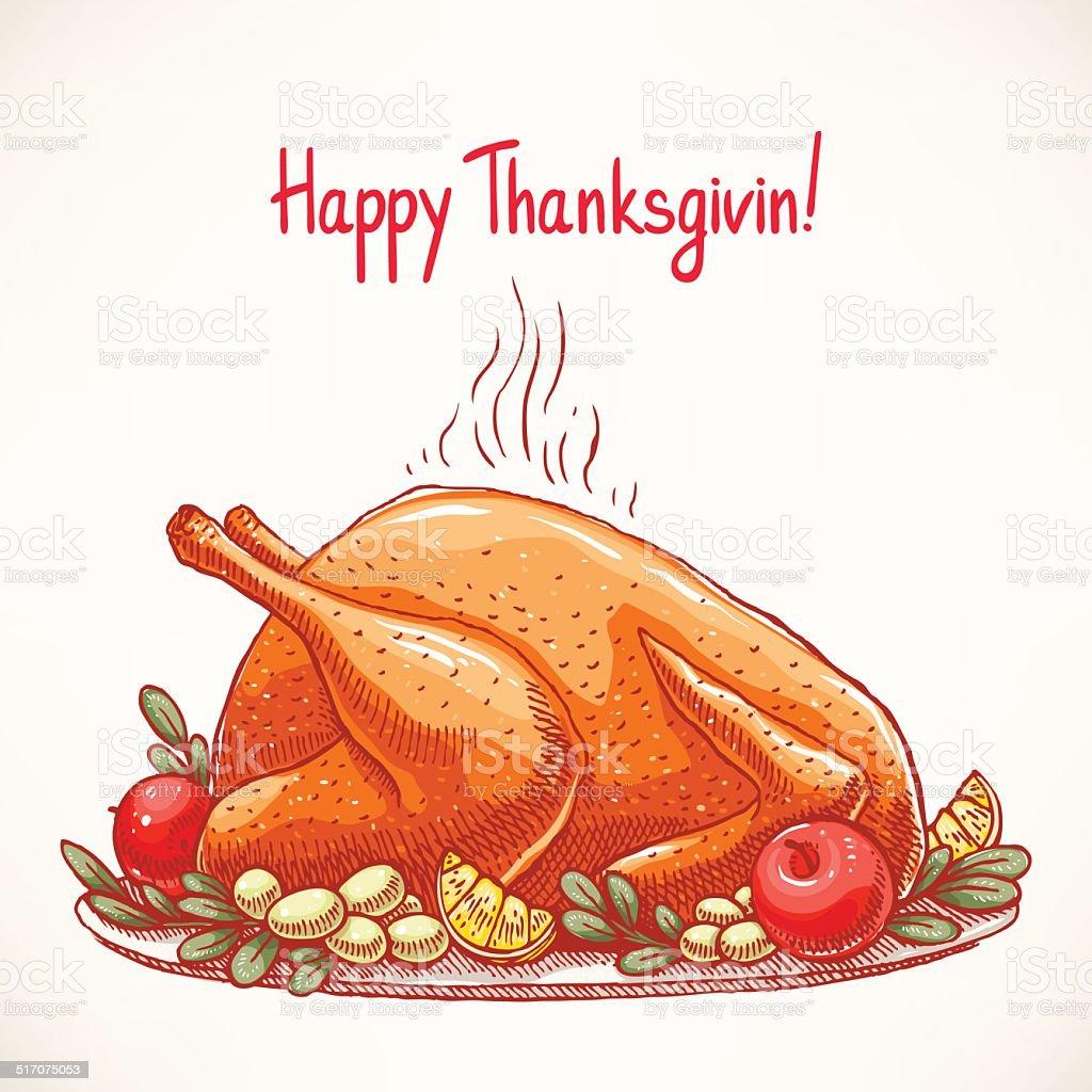 appetizing fried turkey vector art illustration