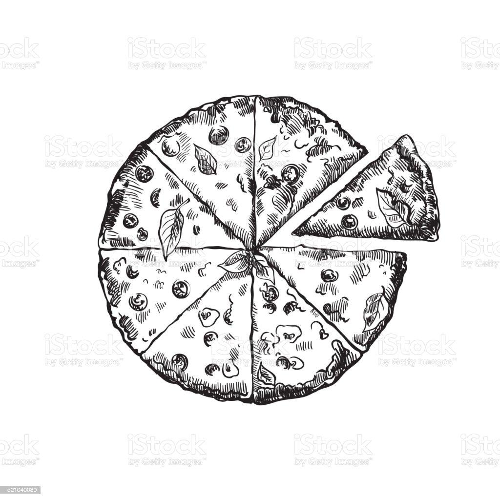 appetizing pizza on a white background vector art illustration