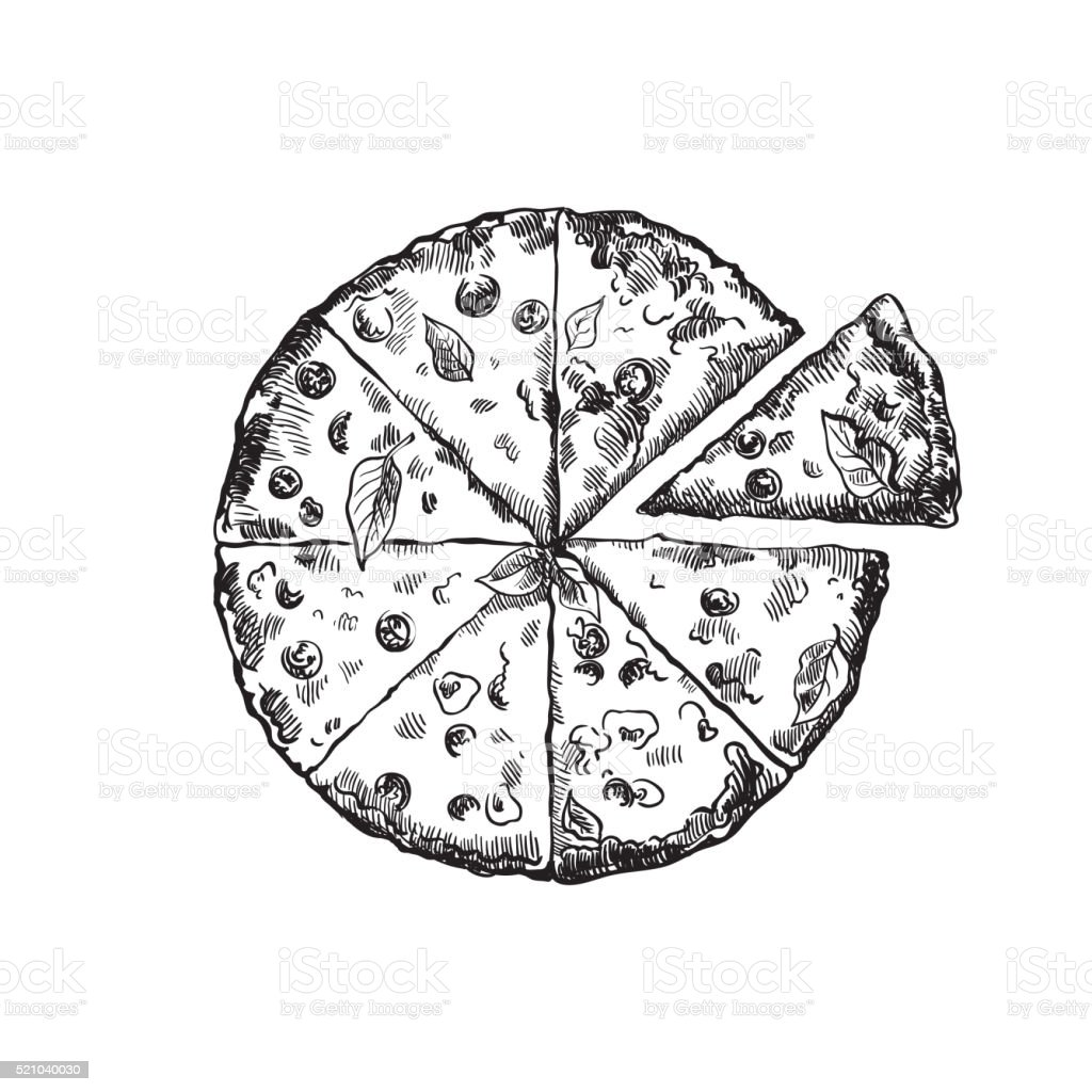 appetizing pizza on a white background vector art illustration