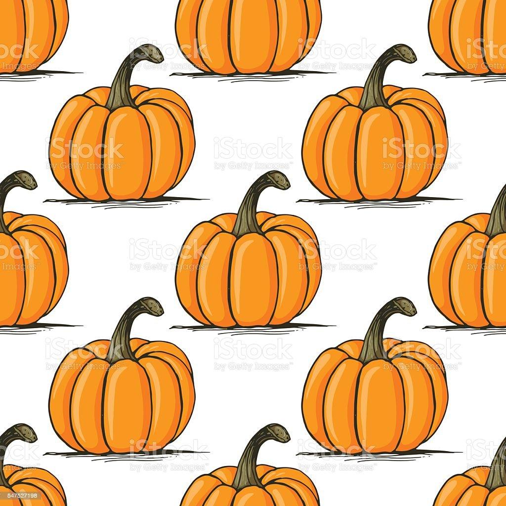 Appetizing pumpkin vector seamless pattern vector art illustration