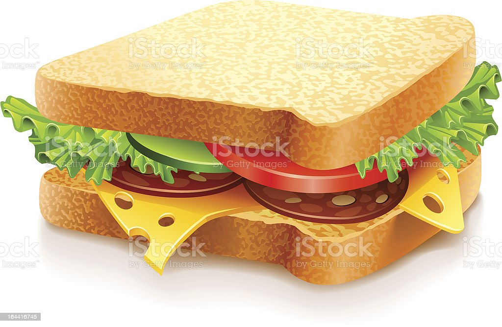 appetizing sandwich with cheese sausage and vegetables vector art illustration