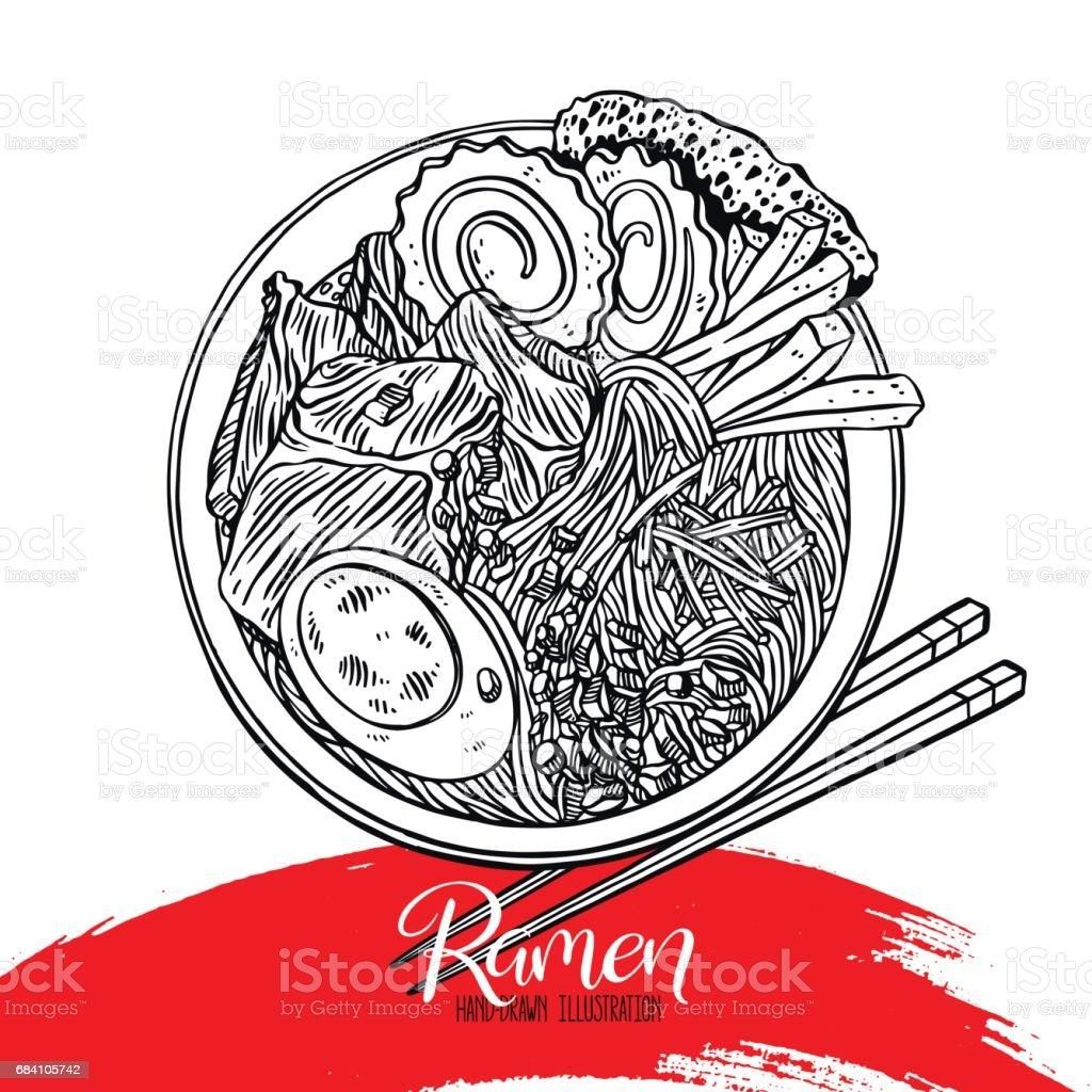 Appetizing sketch ramen vector art illustration