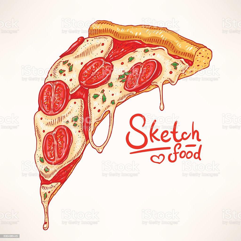 appetizing slice of pizza Margherita vector art illustration