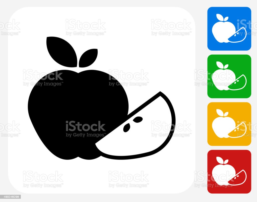 Apple and Apple Slice Icon Flat Graphic Design vector art illustration