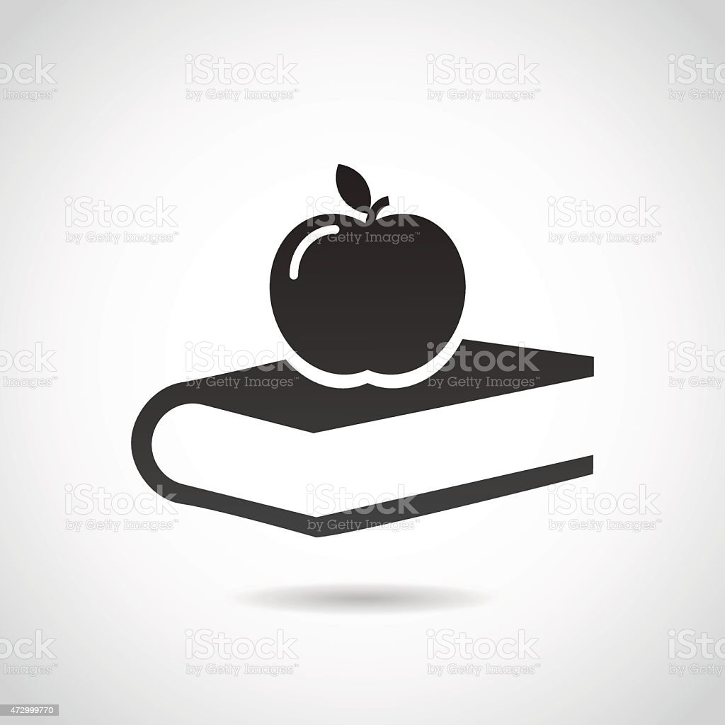 Apple and book - education icon. vector art illustration