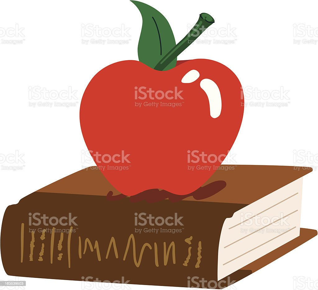 Apple and Book Illustration royalty-free stock vector art