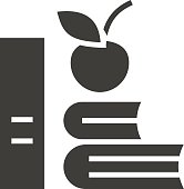 Apple and books icons, silhouette symbol. Negative space. Vector isolated