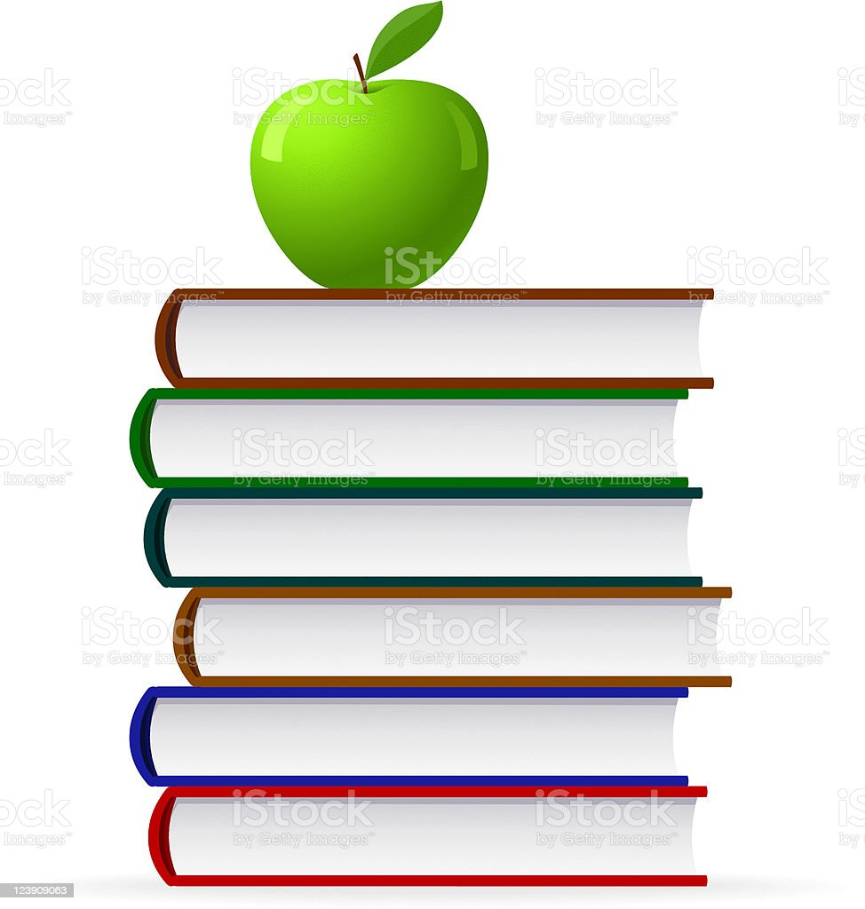 Apple and books stack vector art illustration