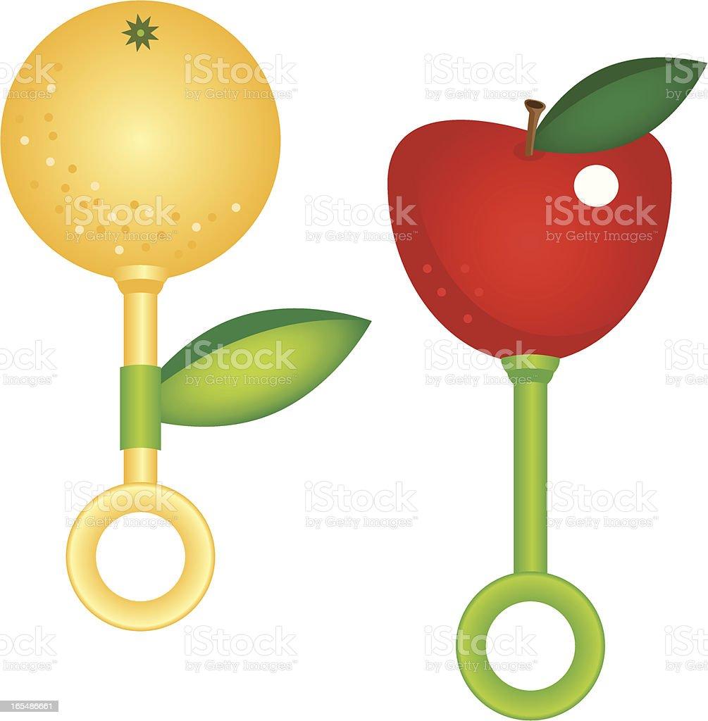 Apple and Orange Baby Rattles vector art illustration
