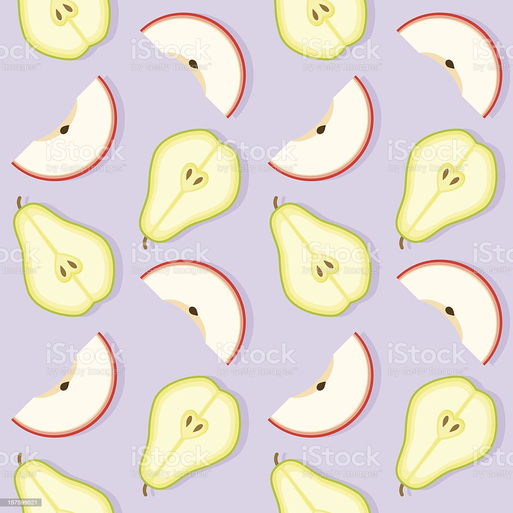 Apple and Pear Seamless Pattern vector art illustration
